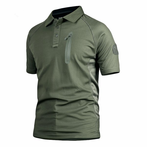 Men Short Sleeve Fast Dry Pullover Polo T Shirt Tops Outdoor Tactical Camping Climbing Breathable Camouflage T-shirt Undershirt C19041201