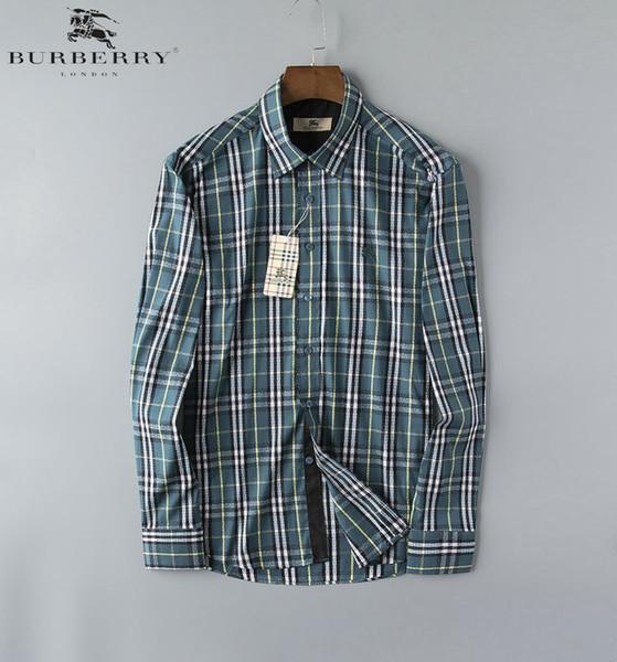 jea6 Tempo libero Uomo Camicie maniche lunghe maschi adolescenti Trend Hundred And Up Mens casuali slim fit stampato 0722
