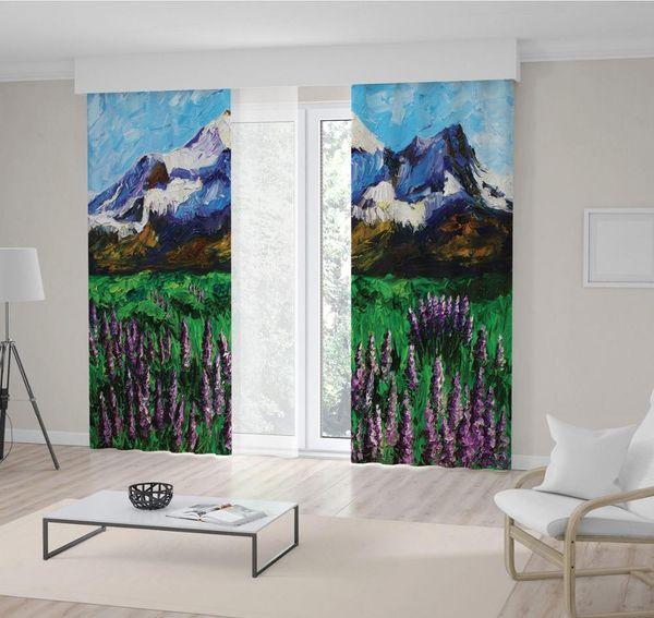 Гора и луг с полевыми цветами трава Весенний пейзаж живопись маслом искусство в зеленый фиолетовый синий занавес