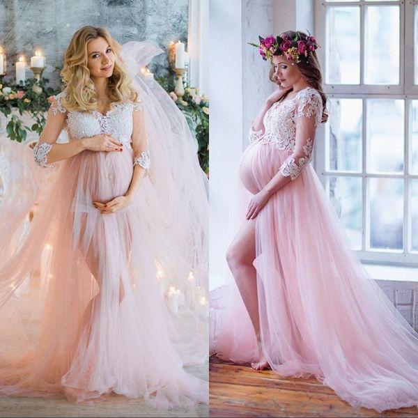 Pink A Line Vestidos de novia Estilos de maternidad Embarazadas Vestidos de novia Sheer Mangas largas Apliques con cuello en v Split Vestidos de novia personalizados