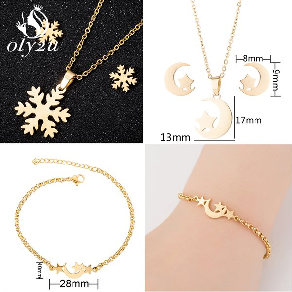 oly2u snowflake bridal jewelry sets for women gold choker necklaces stud earrings set fashion jewelry pendientes mujer moda 2019