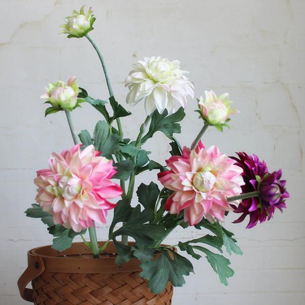 düğün sonbahar dekorasyon mariage flores artificiales fleur için lüks Gerçek dokunmatik lateks Dahlia çiçek dalı Yapay çiçekler