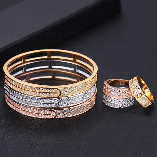 GODKI De Luxe Éternité Bracelet Jonc Ensemble De Bijoux De Mode Ensembles Pour Les Femmes De Fiançailles De Mariage brincos para comme mulheres 2019