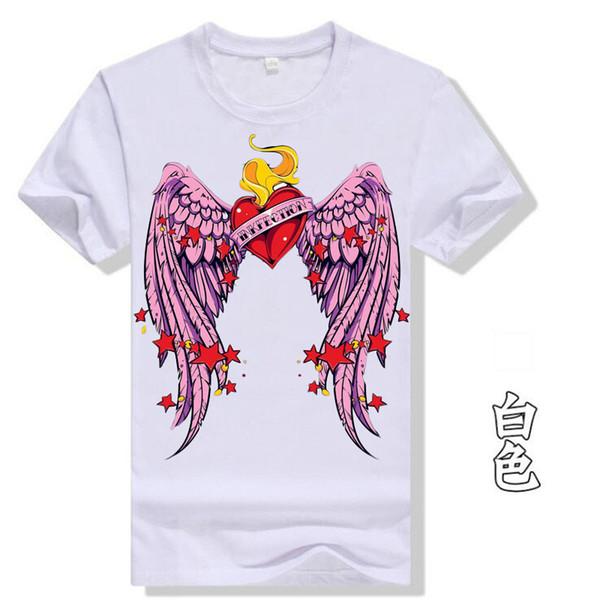 Cartoon Angel Wings Love Print Tees White Cotton 2018 Summer Women T-shirt Plus Size Couple Tops Gothic Streetwear Tshirt T37