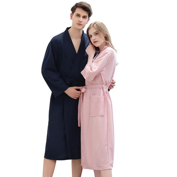 Roupão de banho Nightgowns tecido Waffle Confortável Pijamas Mulheres Pijamas de Banho Quente Roupas Robe 2019