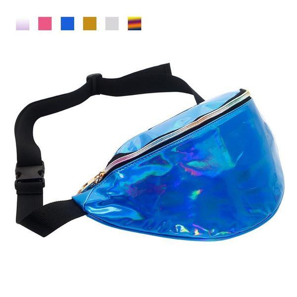 blue pu waist bag