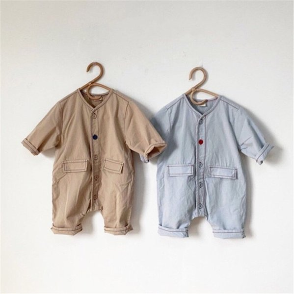 Fall INS New Toddler Baby Boys Jumpsuits Blank Denim Cotton Long Sleeve Autumn Organic Tatting Cotton Newborn Overalls Rompers Onesies
