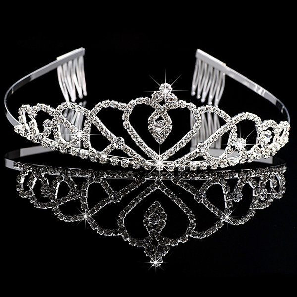 Girl's Tiaras Wtih Rhinestones Crystals Hair Accessories Evening Prom Party Performance Pageant Princess Tiaras For Little Girls DB-T011
