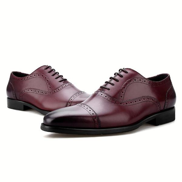 CLORISRUO Fashion Black / Brown / Blue Tan Oxfords Mes Wedding Dress Shoes Genuine Leather Business Shoes Male Social