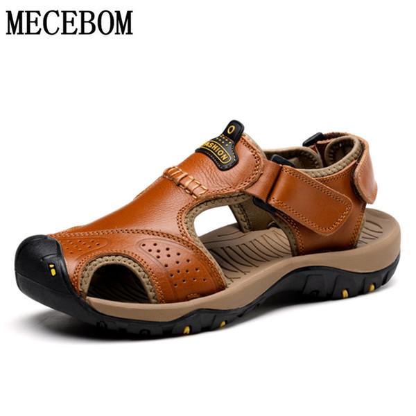 Hommes D'été Sandales Grande Taille 46 En Cuir Véritable Hommes Plage Roman Sandals Marque Casual Chaussures Flip Flops Plage Sandale