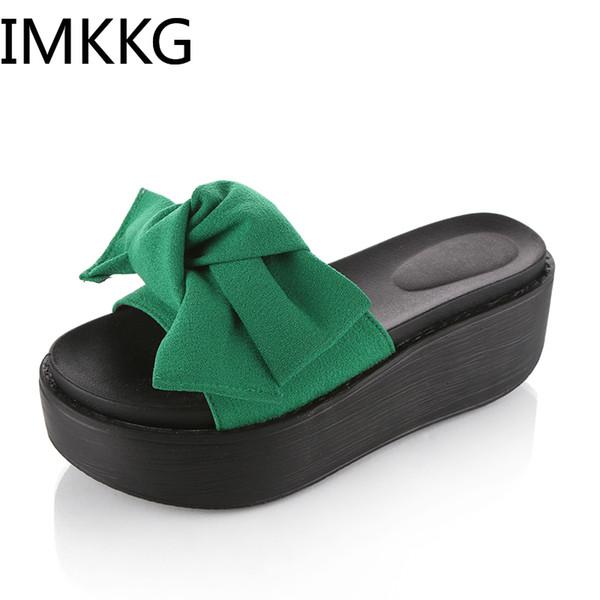 Taille 35-41 Grand Bowtie Femme Plage Tongs D'été Sandales D'été Sandalias Mujer 2019 Pantoufles Plate-Forme Chaussures A00230
