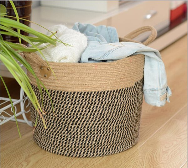Woven Storage Baskets,Decorative Blanket Basket,Use For Sofa Throws,Nursery,Cotton Rope Organizer,Coiled Round Laundry Hamper with handles