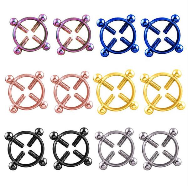 1Paire Piercing Corps Anneaux De Mamelon Téton Barbell Ring Acier Inoxydable