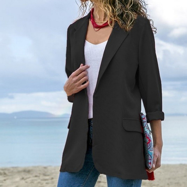 heflashor autumn women jackets casual office lady suit longsleeve solid cardigans business female mujer outwear