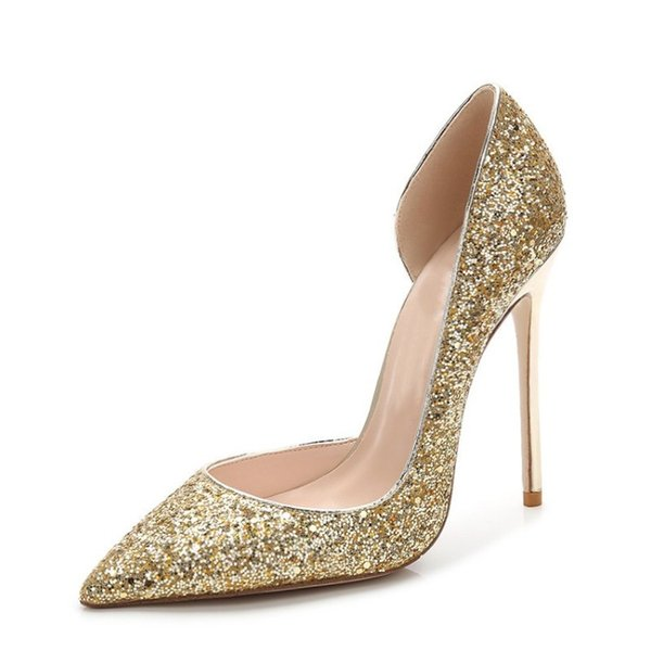 Free shipping fashion Glitter pumps women shoes 10cm 12cm sex high heel pumps wedding shoes party shoes
