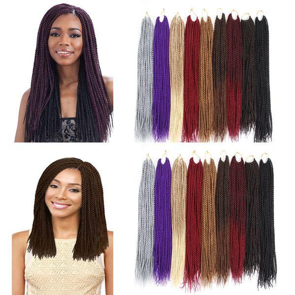 12 ou 30 brins / Paquet Extensions de cheveux synthétiques Crochet de couleur Ombre couleur 18 pouces 22 pouces Kanekalon fibre Twist