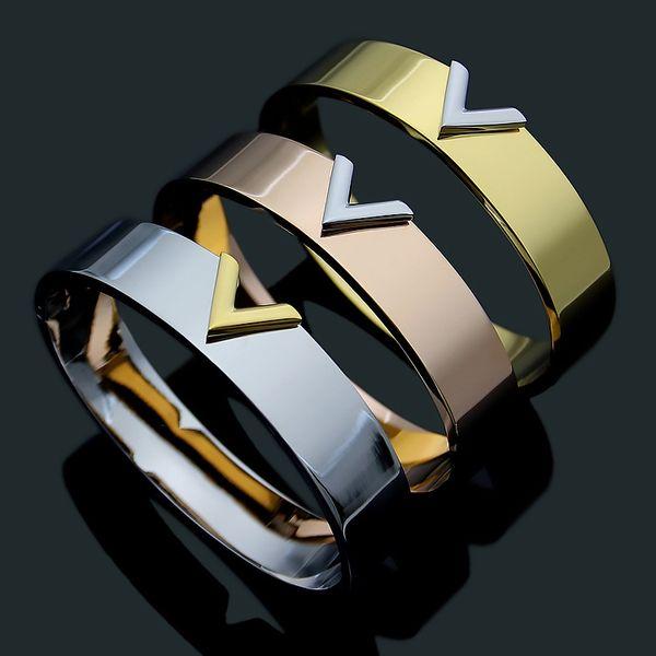 Fashion Hot Sale Lady Titanium Steel Double Color V Letter 18k Gold Plated Bracelet Bangle 3 Color