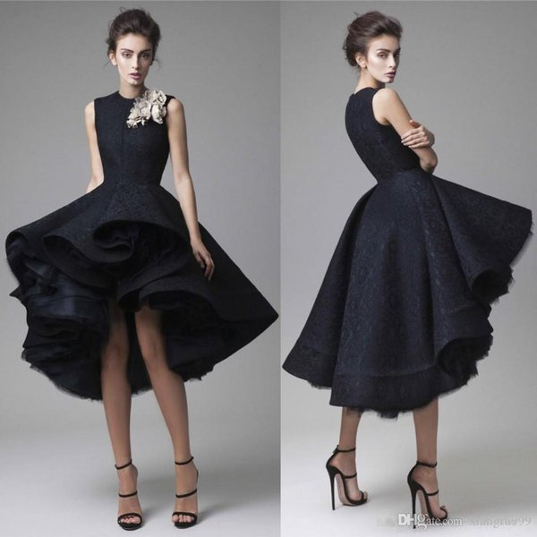 Krikor Jabotian Full Lace Prom Dresses With Hand Made Flower High Low Short Black Evening Gowns Custom Made Special Occasion Dress