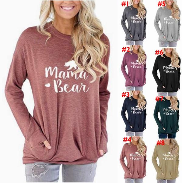 Mama Hoodie Urso 8 cores Mulheres letra impressa manga comprida camisolas casual cor sólida camisa do bolso Tops LJJO7140