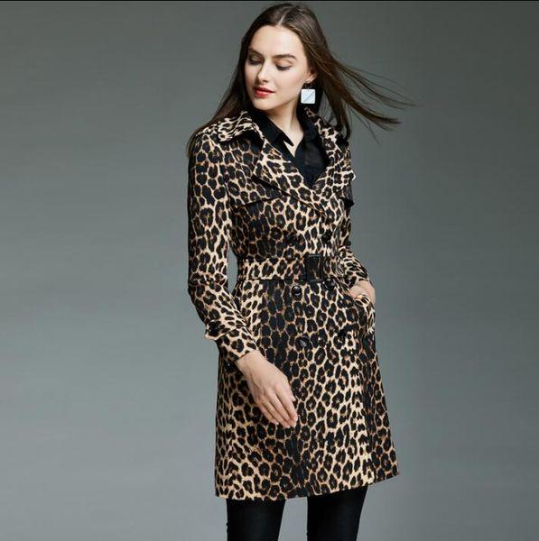 kadınlar uzun kollu leopar kat için Avrupa bahar bayan trençkot-Çift göğüslü palto kadın Retro moda womens