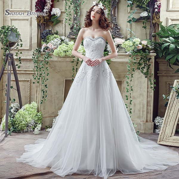 top popular 2019 Simple White A-line Tulle Sweetehart Lace Up with Appliques and Beads Sleevless Bride Dress Wedding Dresses Bridal Party Gowns SQS044 2020