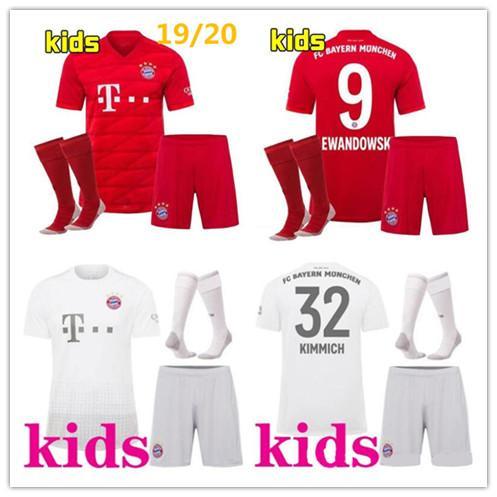 Yeni Bayern Münih çocuklar futbol formaları 19/20 çocuklar tam kiti LEWANDOWSKI MULLER ROBBEN GOTZE 2019 2020 çorap ile erkek üniformaları