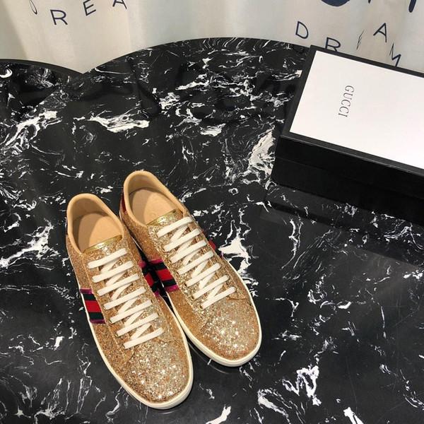 2019S novo luxo prata senhoras sapatos casuais, moda senhoras sapatilhas, high-end senhoras sapatos baixos, caixa original fatura embalagem entrega