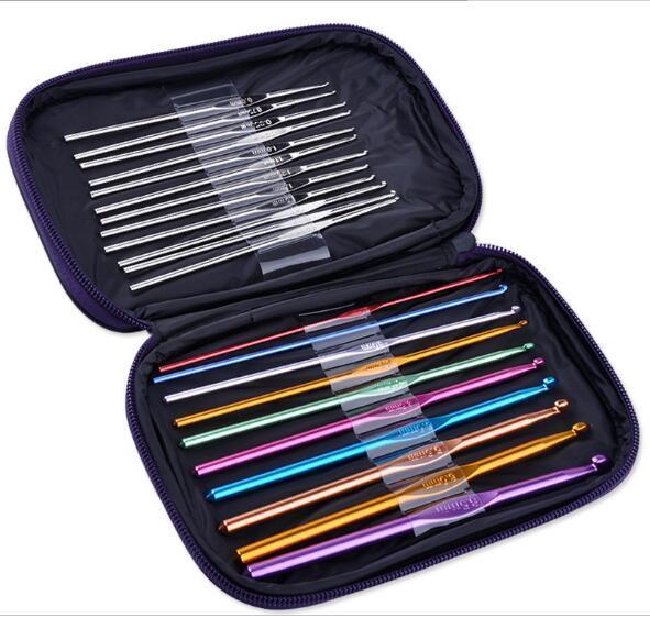 100set Practical 22 Pc/Set Multi Stainless Steel Needles Crochet Hooks Set Knitting Needle Tools With Case Yarn Craft Kit