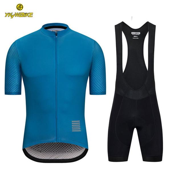 YKYWBIKE 2019 Bisiklet Önlüğü Setleri Erkekler Bisiklet suit Nefes Dağ Bisikleti Giysileri Sportwears Sünger Yastıklı Yansıtıcı Giysiler Özel tasarım