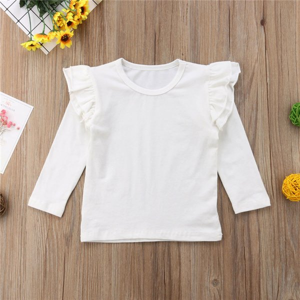 Toddler Baby Kids Girls Cotton Long Sleeve Solid Color Tee Tops T-Shirt Clothes White Black Wine Red