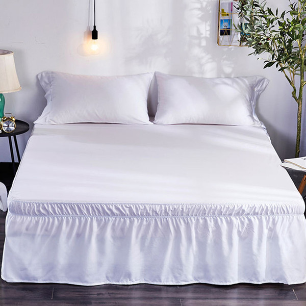 Wrap Around Hotel Queen Size Bed Skirt White Bed Shirt without Surface Elastic Band Single Queen King Easy On/Easy Off Bed Skirt
