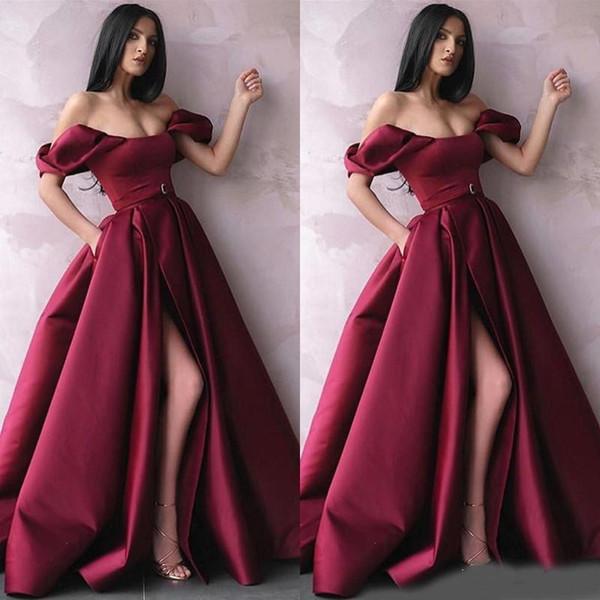 Borgogna Off The Shoulder A Line Abiti da sera Satin Side Split Sexy Prom Dress Abiti da sera Vestido De Fiesta