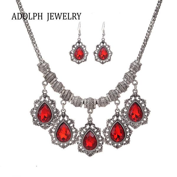 ADOLPH Bijoux pour les femmes de luxe Accessoires Tempérament Water Droplets Bijoux Set Collier ras du cou et boucles d'oreilles
