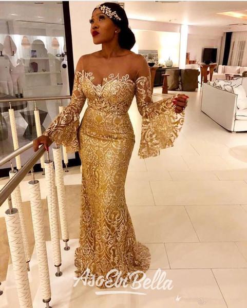 Sirena de oro atractivo 2020 vestidos de noche africanos Sheer cuello de manga larga con lentejuelas vestidos de baile baratos dama de honor formal del desfile de los vestidos