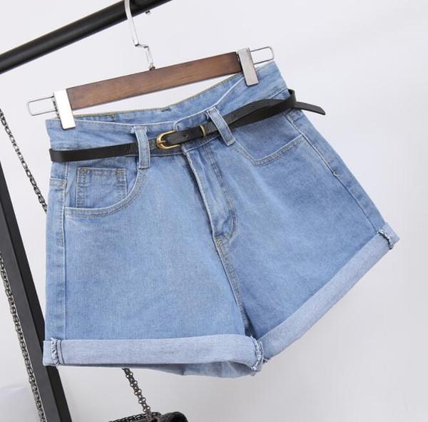 Pantaloncini di jeans a vita alta Taglia XL Jeans corti femminili per donna 2018 Pantaloncini hot da donna estivi denim a tinta unita