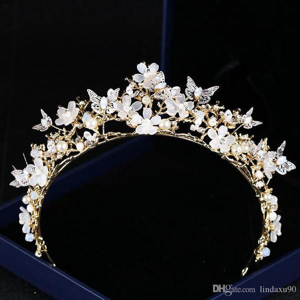 Luxe Fleurs diadème de mariée mariage strass tête pièces en cristal de mariée Bandeaux Accessoires cheveux papillon soirée mariée Couronne
