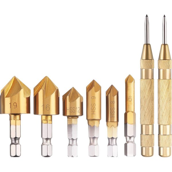 2 Pack Automatic Center Punch One-Hand Operational Adjustable Spring Stroke Strength and 6 Pieces Countersink Drill Bit Set