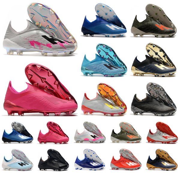 top popular 2020 Hot X 19+ 19.1 FG Soccer Mens Slip-On Football Pink 19+x Soccer Boots football Shoes Cleats Size US 6.5-11 2020