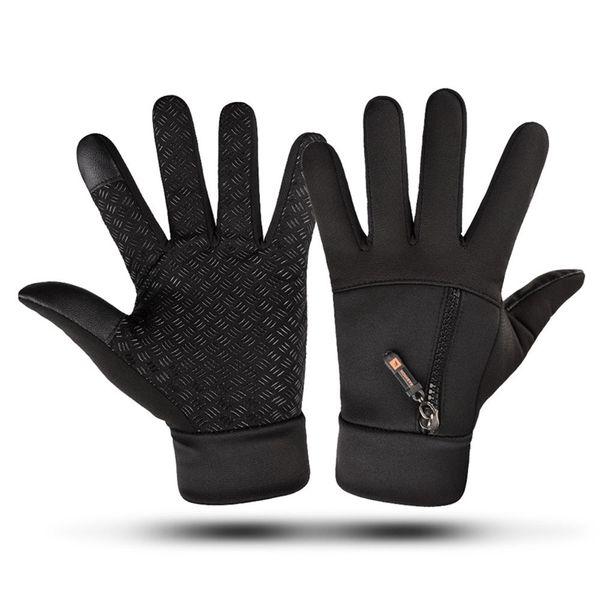 Practical Men Black Waterproof Windproof Motorcycle Cycling Zipper Gloves Winter Warm Fleece Full Finger Touch Screen Ski Gloves