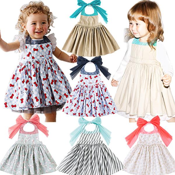 Crianças Menina Impresso Avental Vestido 5 + Listrado Pendurar No Pescoço Avental Ventilação Arco Cinta Vestidos Traje para Crianças Meninas Traje TUTU Avental