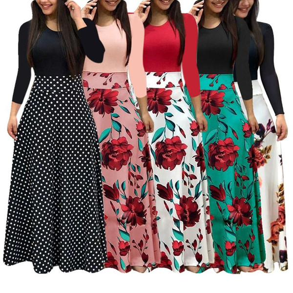 womens plus size bohemian long sleeve maxi flowy dress color block polka dot floral patchwork bodycon empire waist vintage skirt, Black;gray