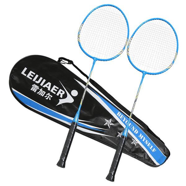 2 Jugador Juego de Raquetas de Bádminton Deportes al aire libre para interiores Práctica de entrenamiento Raqueta de bádminton con funda