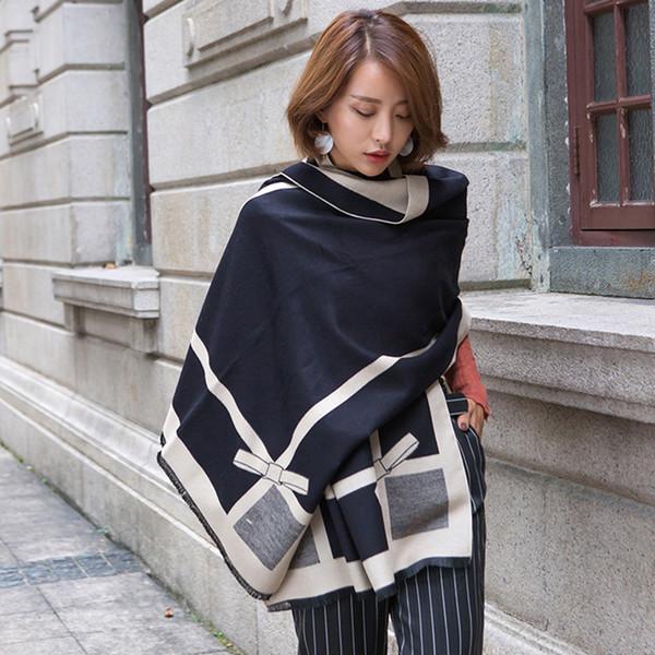 Écharpe D'hiver Femmes 2018 Dames Longues Bowknot Imprimer Écharpe En Cachemire Épais Chaud Châle Élégant Pashmina Marque Designer Wraps