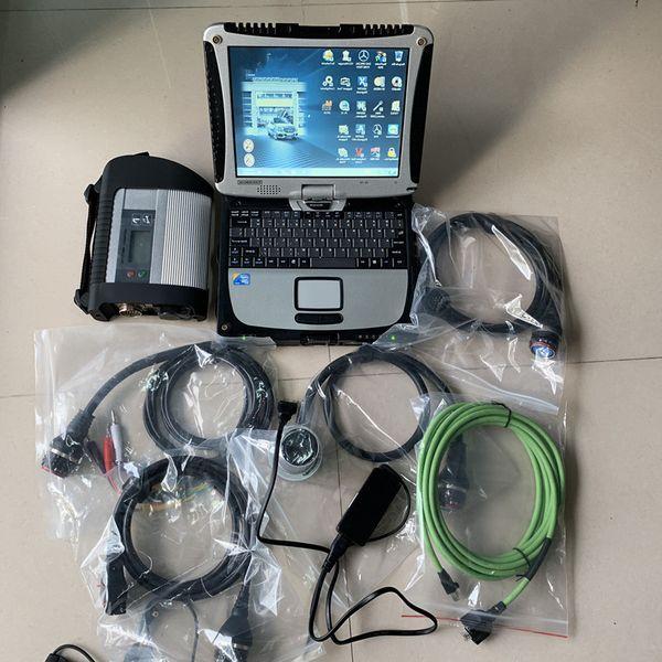 Alta calidad wifi mb star c4 super hdd con laptops hardbook cf19 herramienta de diagnóstico de pantalla táctil para coche camión 12 v 24 v