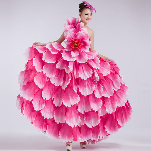 top popular 360 Spain Opening Flamenco Dance Big Dresses Long Section Modern Dance Clothes Costumes Performing Arts Stage Clothing Flowers 2021