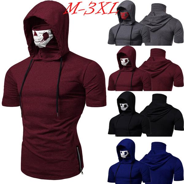 USA Men Gym Thin Hoodie Short Sleeve Hoodies With Mask Sweatshirt Casual T-Shirt