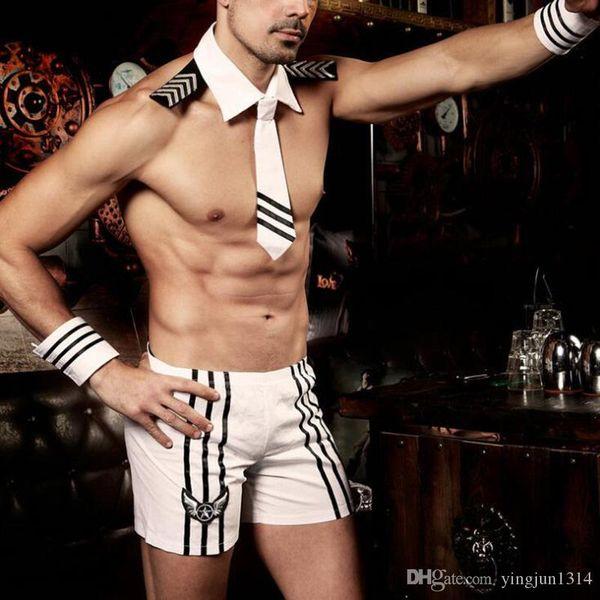 Adult Men Halloween Sexy Sailor Costume kit Hot Erotic Sexy Slim White Seaman Uniform Carnival Festival Male Costumes