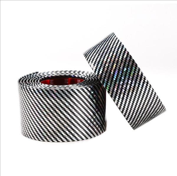 Adesivi per auto 3D Laser in fibra di carbonio Texture adesivo in gomma decalcomanie fai da te 5D vinile sottoporta protettore Trim adesivo striscia adesivo universale