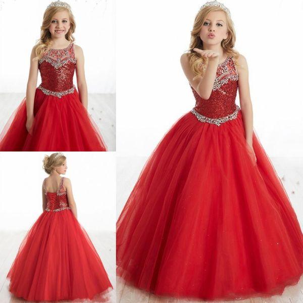 Little Girl's Pageant Dresses Birthday Party 2019 Toddler Kids Formal Wear Floor Length Tulle Beads Teen Kids Size 5 7 9 Vestidos De 15 Anos
