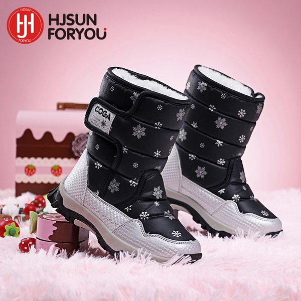 2018 Brand winter children shoes girl and boy boots water-proof leather kids snow boots plush waterproof fashion shoes Y18110304